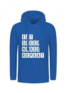 Hoodie Eat Sleep Nurse Repeat Blauw