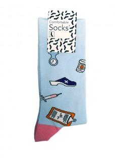 Happy Dames Sokken Medische Instrumenten Blauw Roze