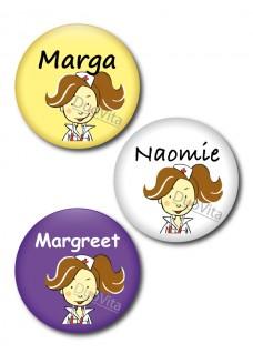 Button Verpleegster brunette