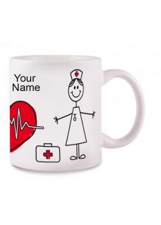 Mok Stick Nurse met Naam Opdruk