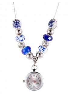 Ketting Horloge Parel Antiek Blauw