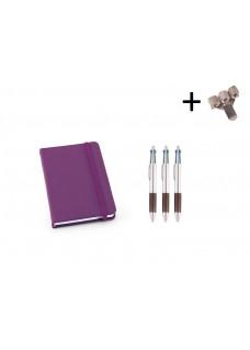 Set Notitieboek A6 + Pennen Paars