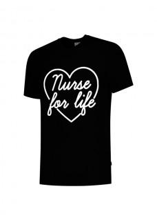 T-Shirt Nurse For Life Zwart