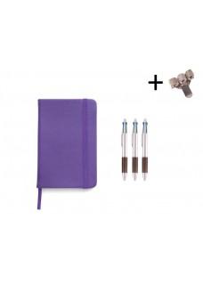 Set Notitieboek A5 + Pennen Paars
