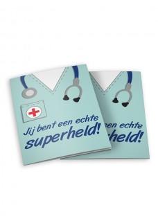 Dubbele wenskaart met envelop: jij bent een echte superheld