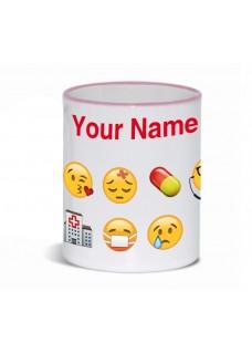 Mok Emoji Nurse met Naam Opdruk Roze