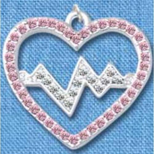 Hanger Heartbeat Zilver-Roze groot