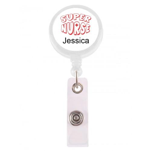 Badge / ID Jojo Super Nurse Rood met Naam Opdruk