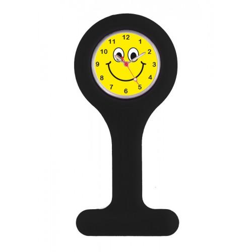 Siliconen Verpleegstershorloge Zwart Happy Face